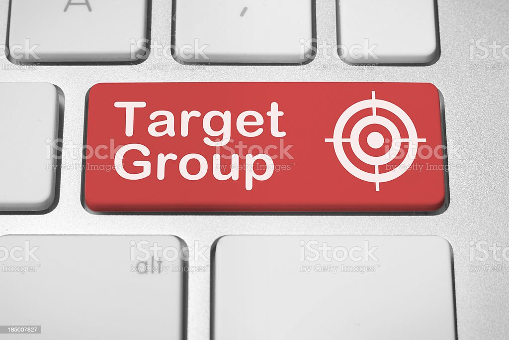 Target group button stock photo
