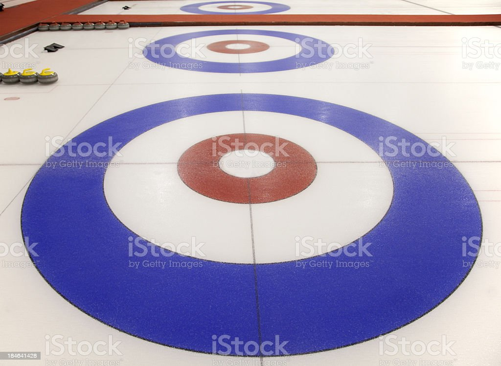 Target Houses at an Indoor Curling Rink stock photo