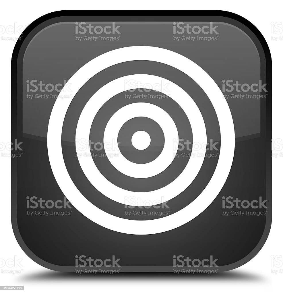 Target icon special black square button stock photo