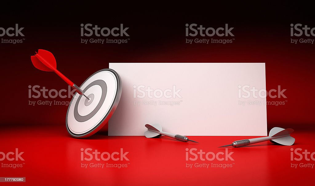 Target Market and Communication Sign, Red Background royalty-free stock photo