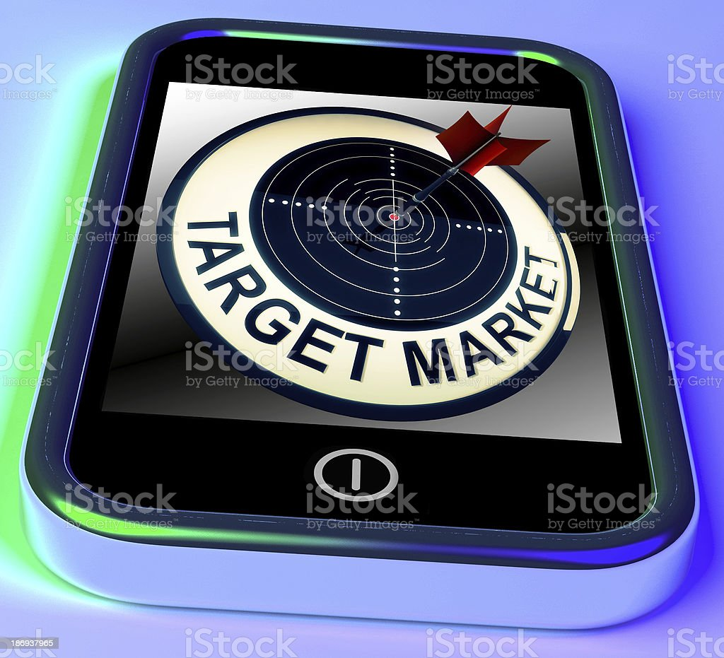Target Market On Smartphone Shows Targeted Customers royalty-free stock photo