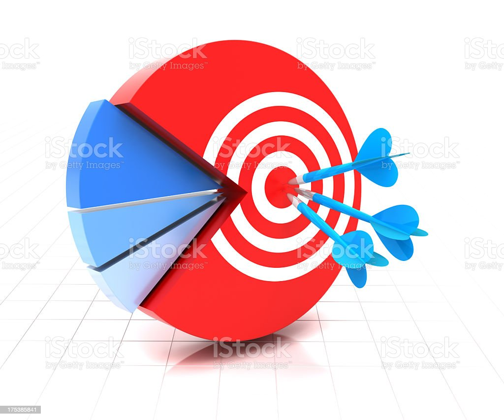Target on the major segment, clipping path included royalty-free stock photo