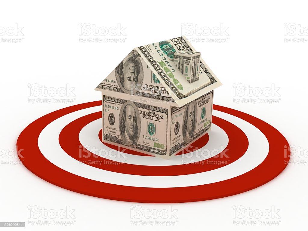 Target real estate house money mortgage concept stock photo