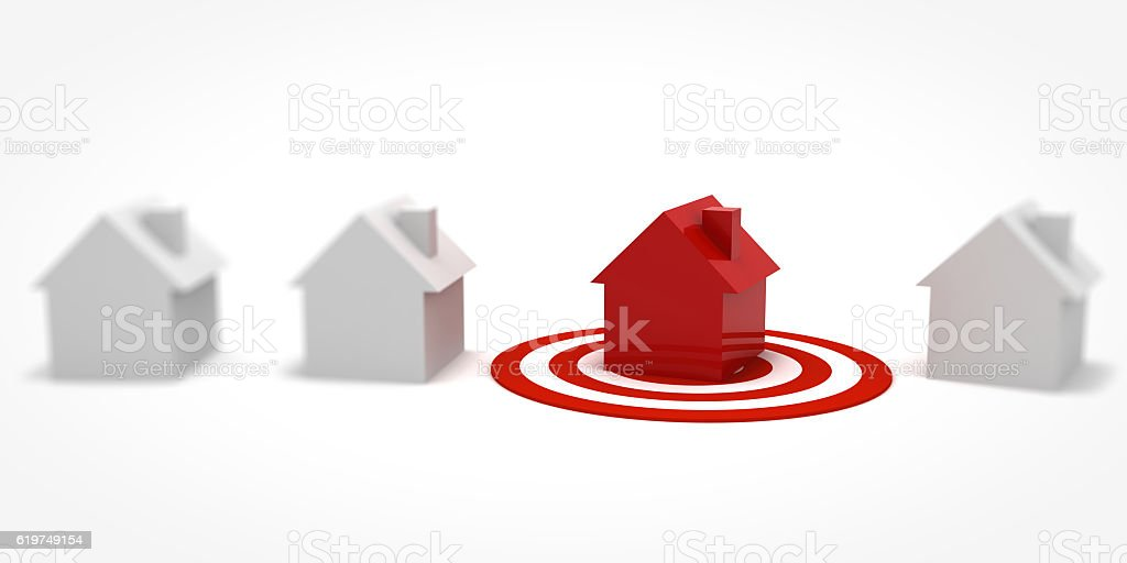 Target real estate house mortgage concept stock photo