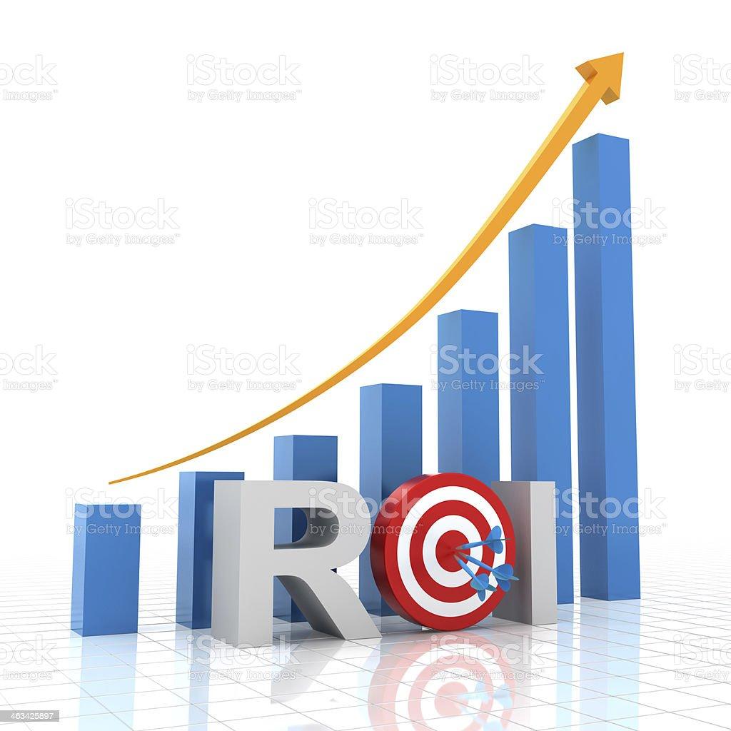 Target return on investment, 3d render stock photo