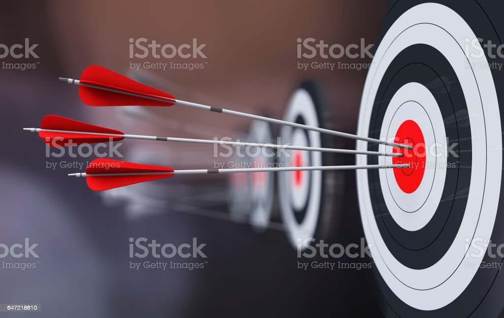 Target the bow and arrow, hit the target, get success stock photo