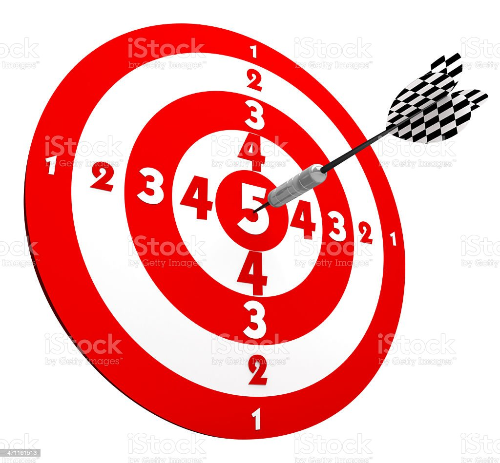 3D Target with Dart in Center royalty-free stock photo