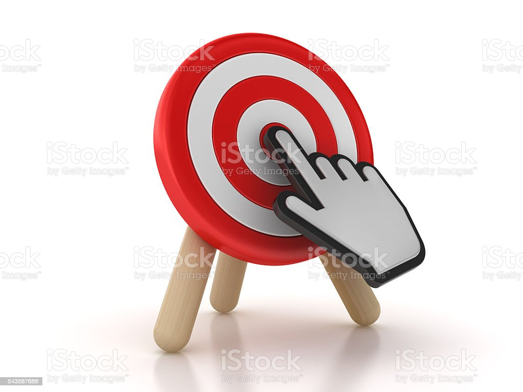 Target with Hand Cursor stock photo