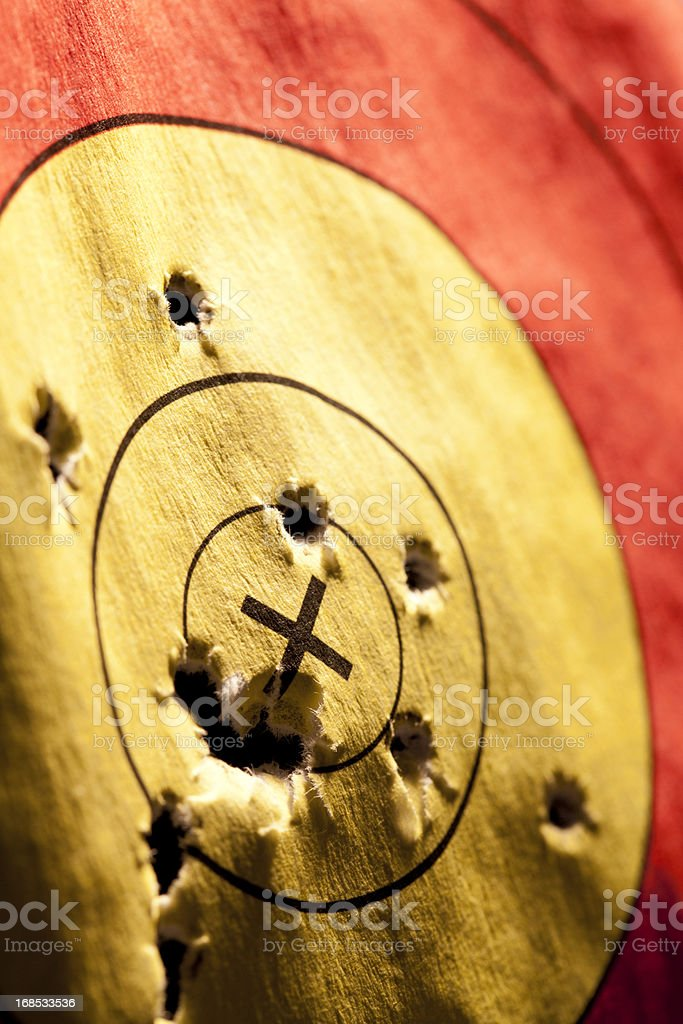 Target with holes royalty-free stock photo