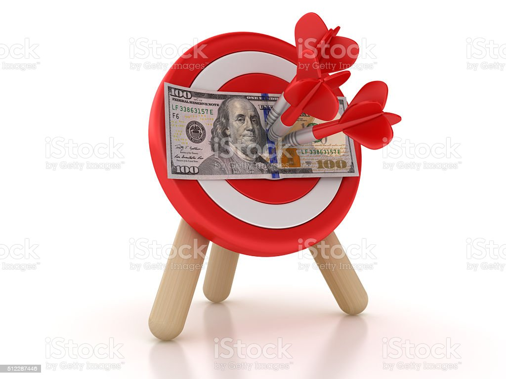 Target with One Hundred Dollar Bill stock photo