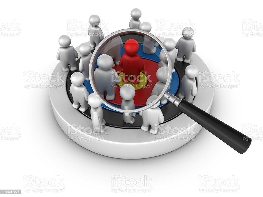 Target with people and Magnifying Glass royalty-free stock photo