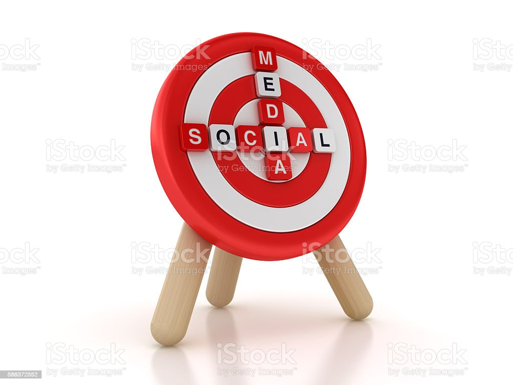 Target with Social Media Crossword stock photo