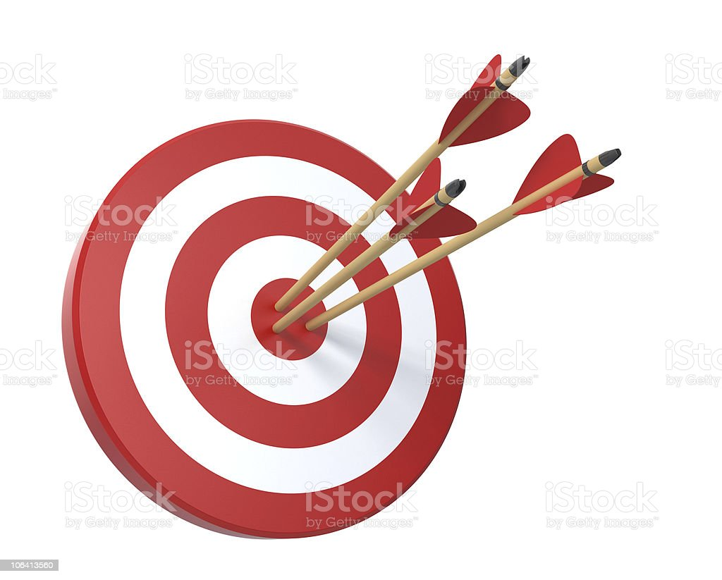 Target with three arrows vector art illustration