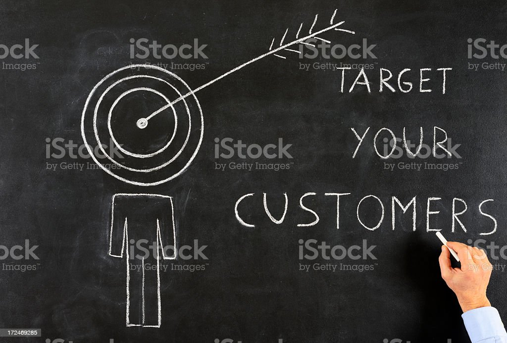 Target Your Customers Drawing stock photo