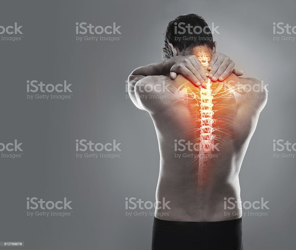 Targeting back pain stock photo