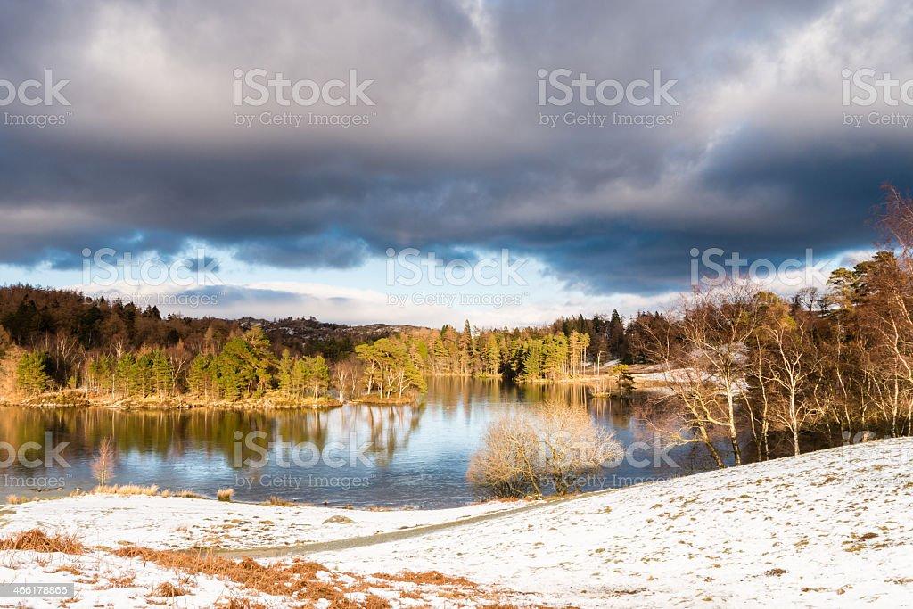 Tarn Hows in Winter stock photo