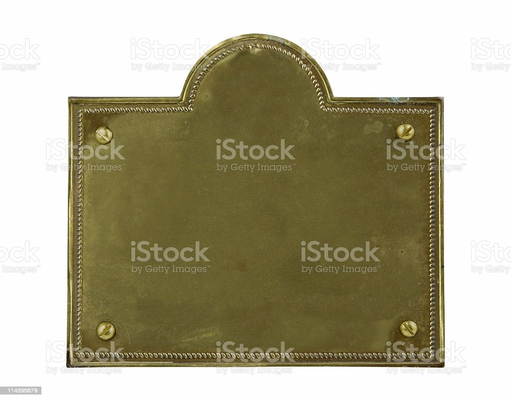 Tarnished Old Brass Plate stock photo