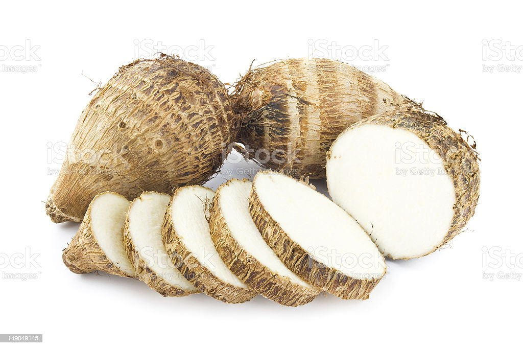 Taro roots and cross sections stock photo
