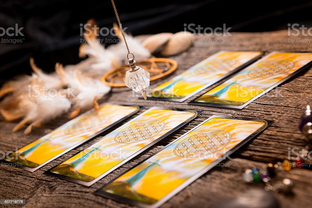 Tarot cards and other accessories stock photo