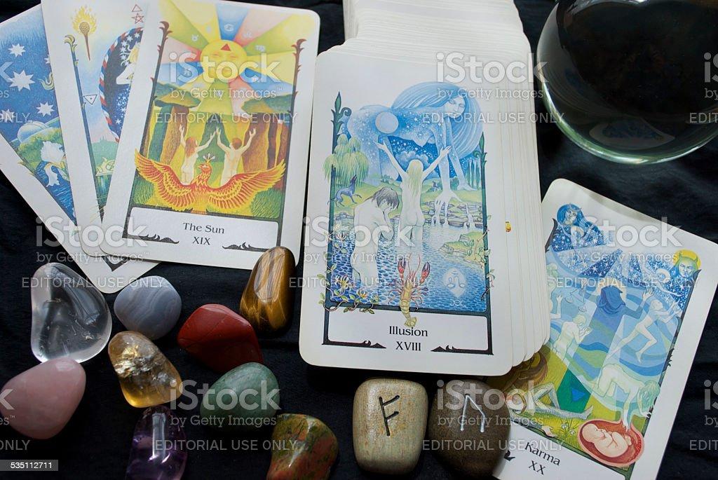 Tarot Reading with a Crystal Ball, Runes & Gemstones stock photo