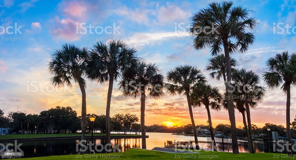 Tarpon Springs Florida Sunset stock photo