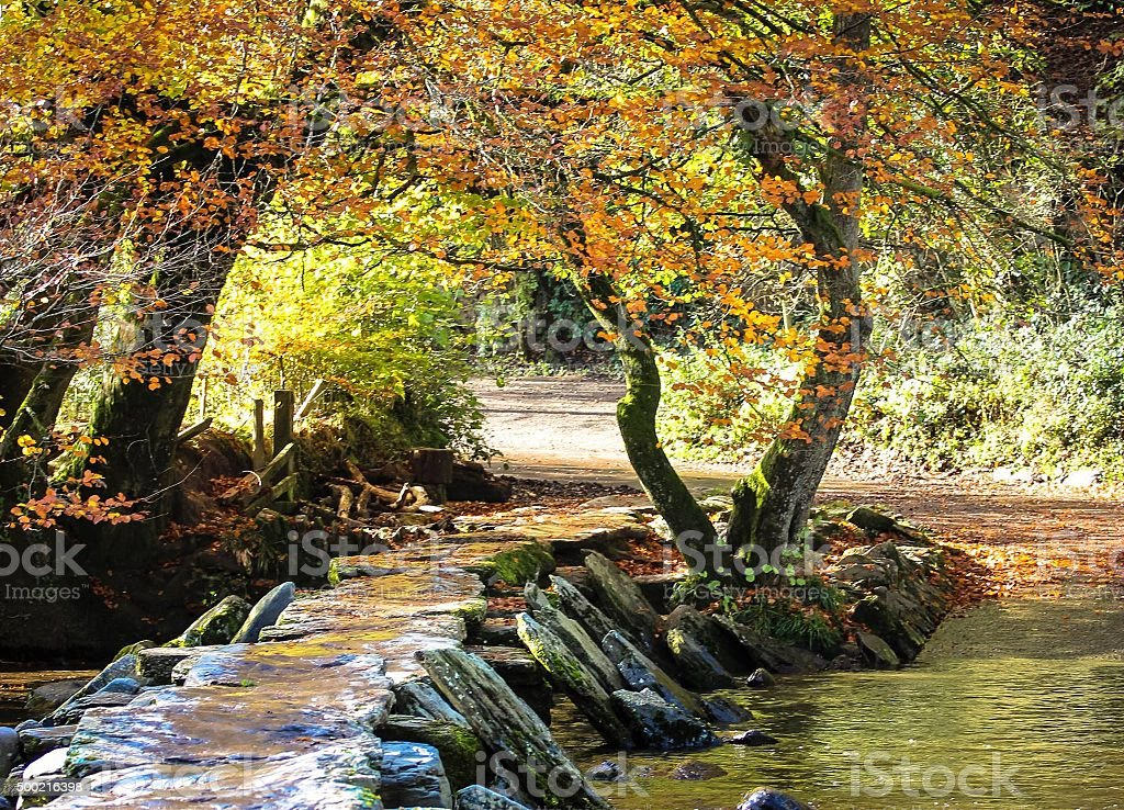 Tarr Steps in the Autumn stock photo