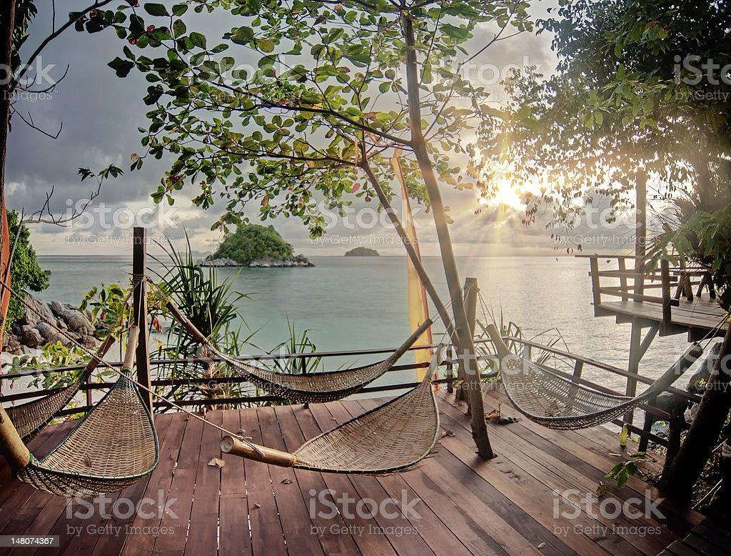 Tarrace on the tropical beach stock photo