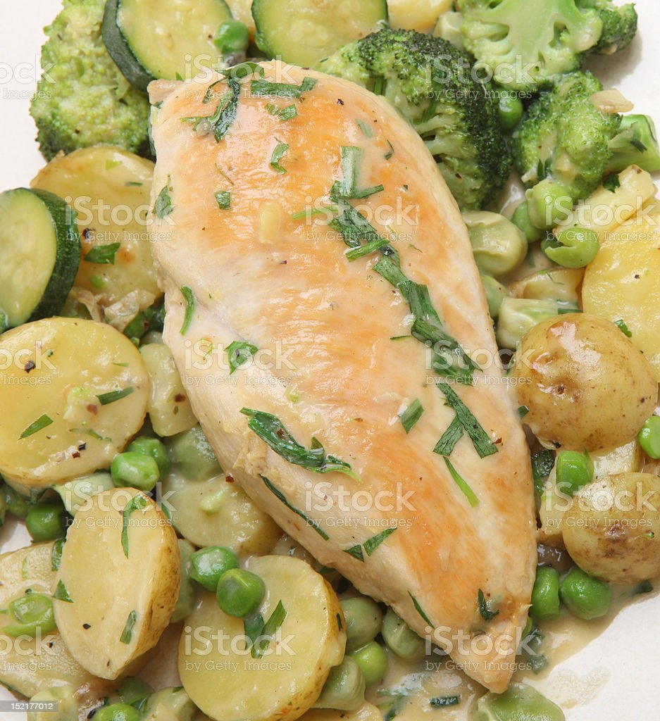 Tarragon Chicken with Vegetables stock photo