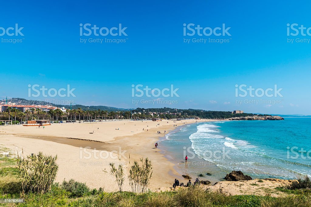 Tarragona beach in Catalonia, Spain stock photo