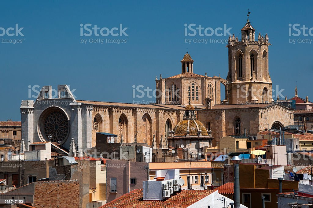 Tarragona Cathedral view over roofs stock photo
