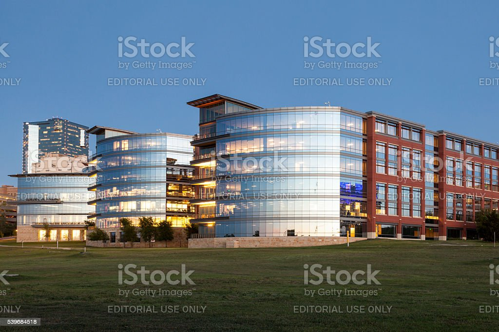 Tarrant County College at dusk, Fort Worth stock photo