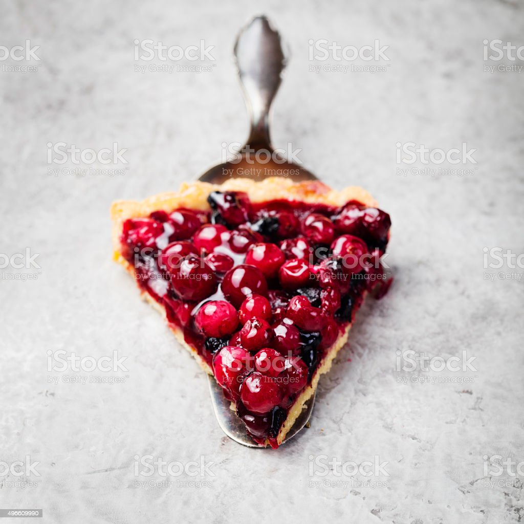 Tart, pie, cake with jellied fresh cranberries, bilberries stock photo