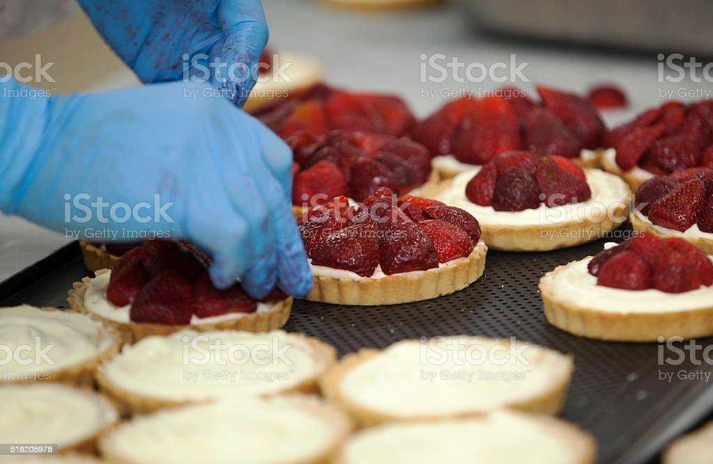 tart, prepare, strawberry stock photo