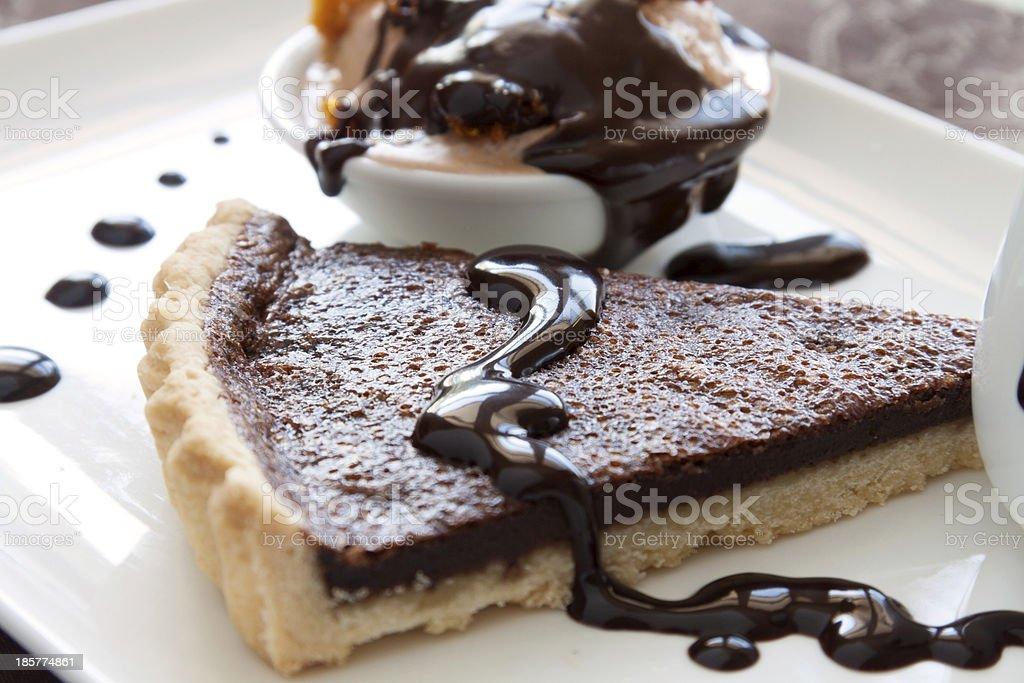 Tart Slice With Chocolate Sauce royalty-free stock photo