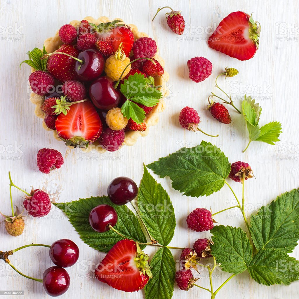 Tart with fresh summer berries.tif stock photo
