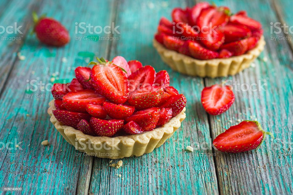 Tart with fresh sweet strawberry stock photo