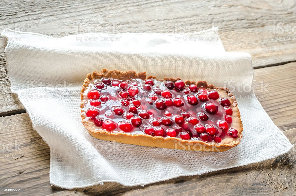 Tart with jellied fresh cranberries royalty-free stock photo