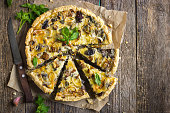tart with mushrooms, leek and cheese
