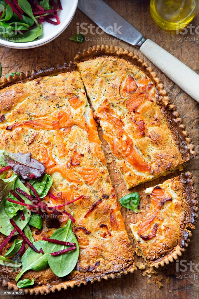 Tart with salmon and dill stock photo