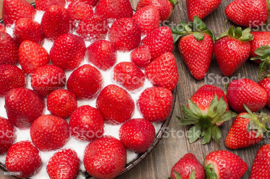 Tartan de fresas photo libre de droits