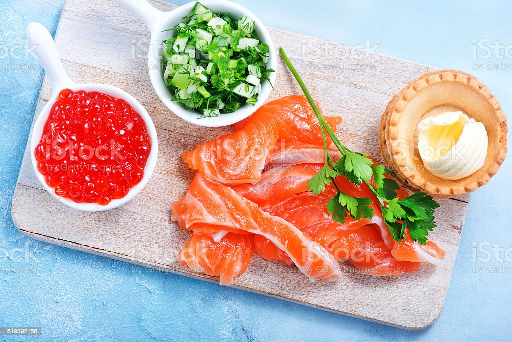 tartalets with seafood stock photo