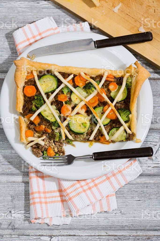 Tarte with minced meat and vegetables stock photo