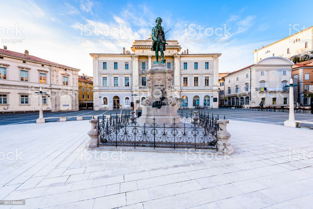 Tartini square with town hall and City Library in Piran. stock photo
