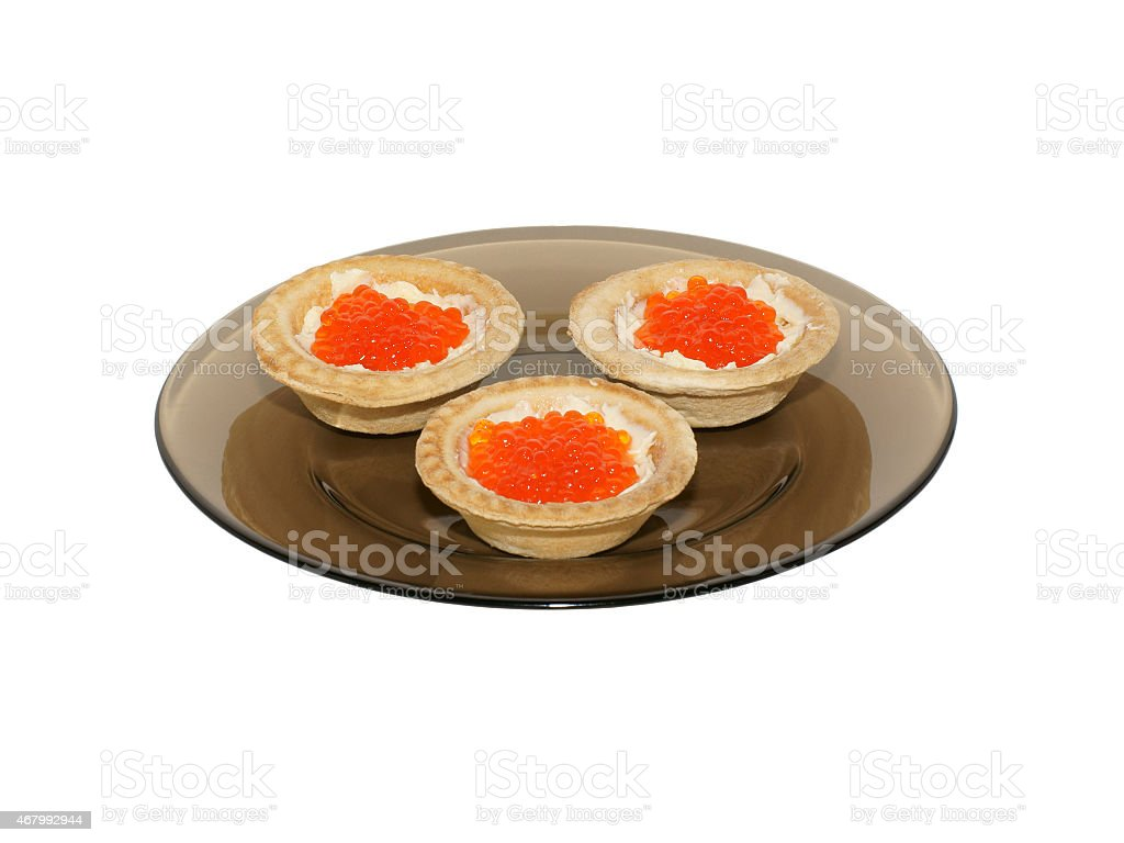 Tartlets with red caviar royalty-free stock photo