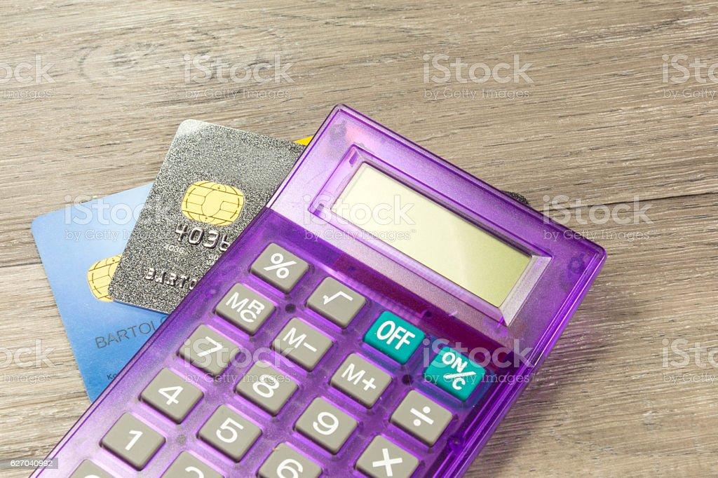 Taschenrechner und Kreditkarten stock photo
