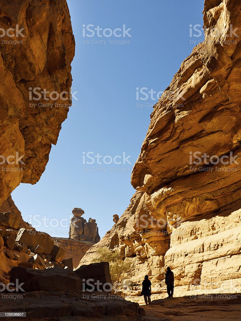 Tashwinet Gorge, Akakus (Acacus) Mountains, Sahara, Libya stock photo