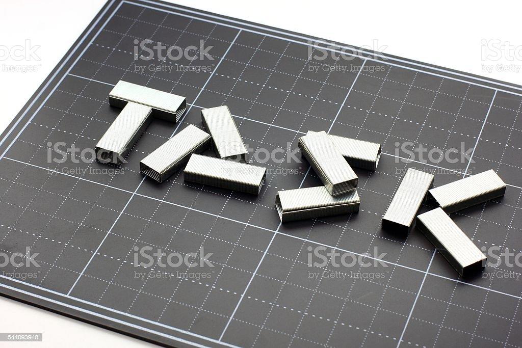 Task with metal staples stock photo