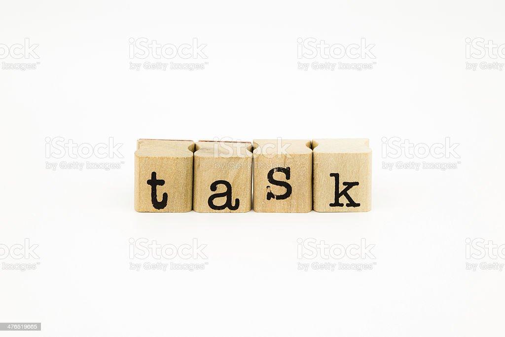 Task wording isolate on white background stock photo