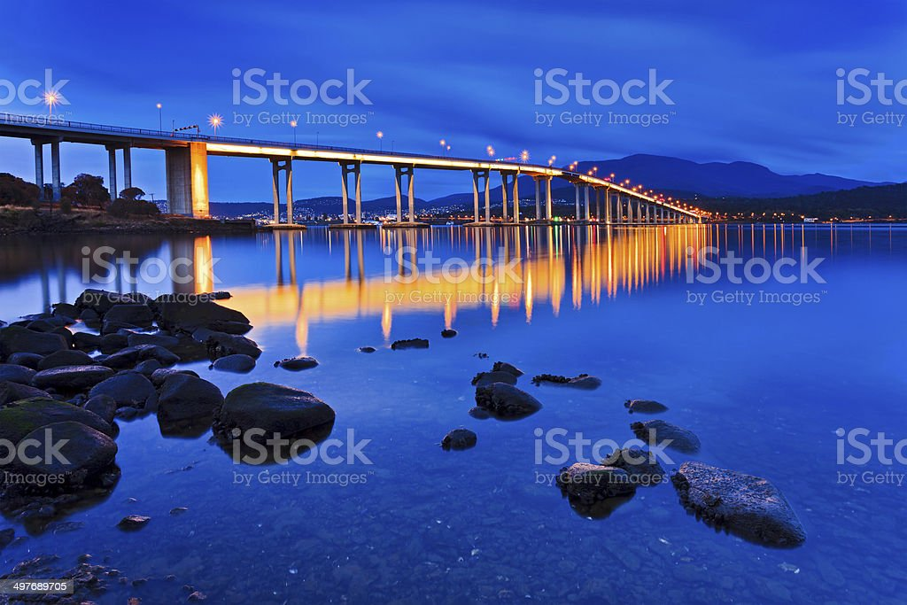 Tasman Bridge Wide Side sunrise stock photo