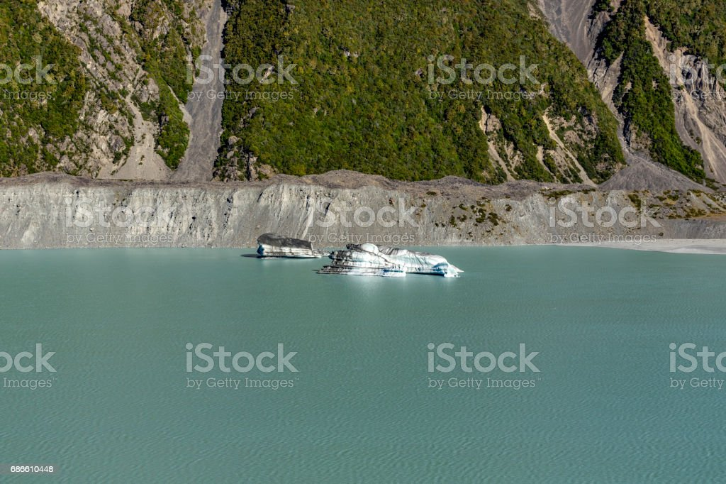 Tasman Glacier and Lake stock photo